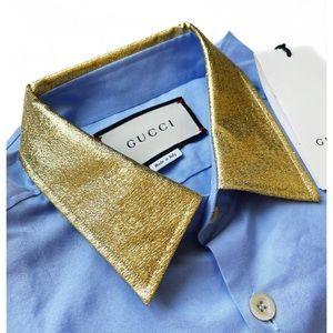 GUCCI Blue Dress Shirt w/ Gold Collar NWT